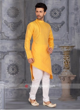 Layered Kurta Pajama In Mustard Yellow