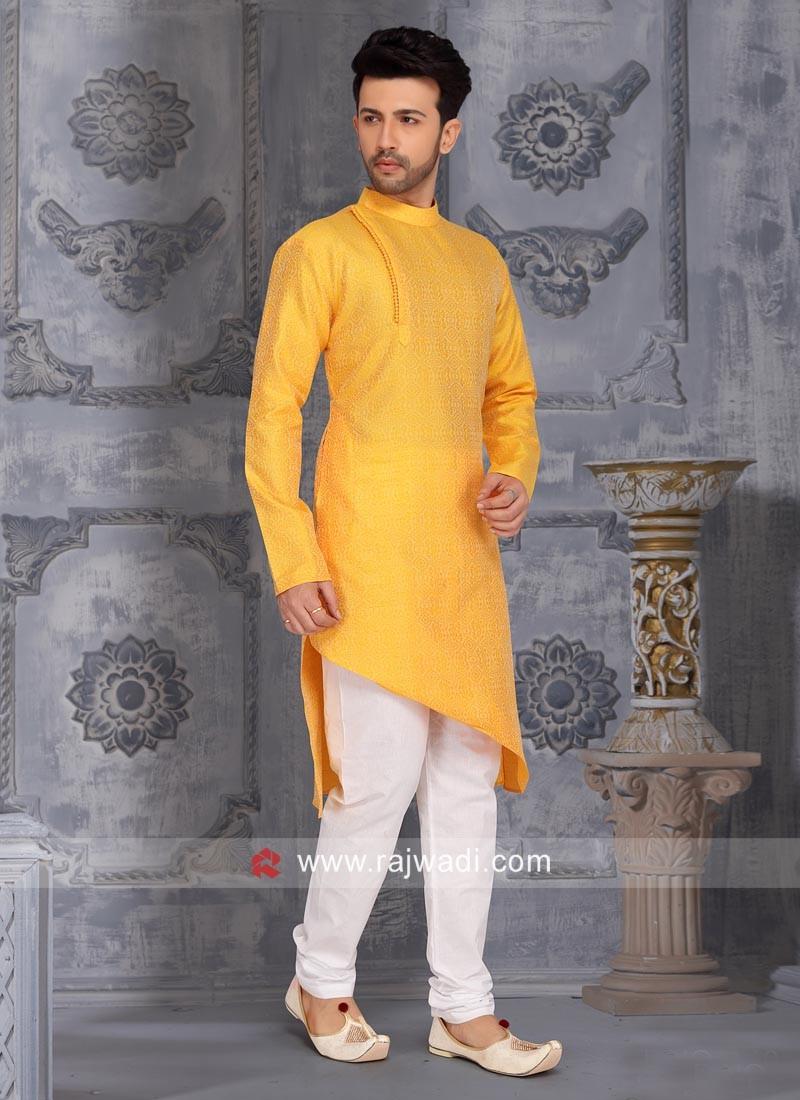 Layered Kurta Pajama In Mustard Yellow