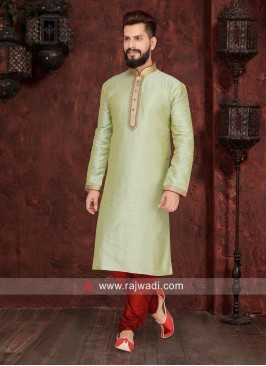 Traditional Light Pista Color Kurta Pajama