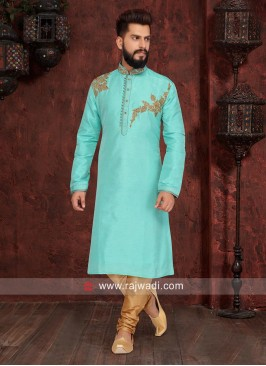 Sea Green Art Silk Kurta Pajama