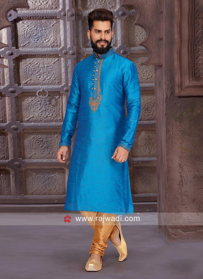 Dodger Blue Color Zari Work Kurta Pajama