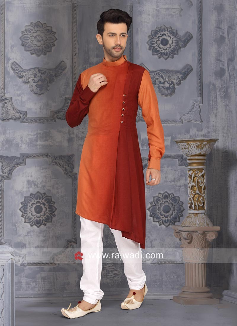 Layered Satin Silk Kurta Set