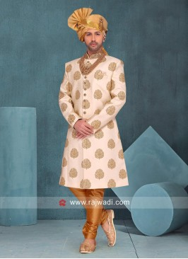 Cream Art Silk Sherwani For Wedding