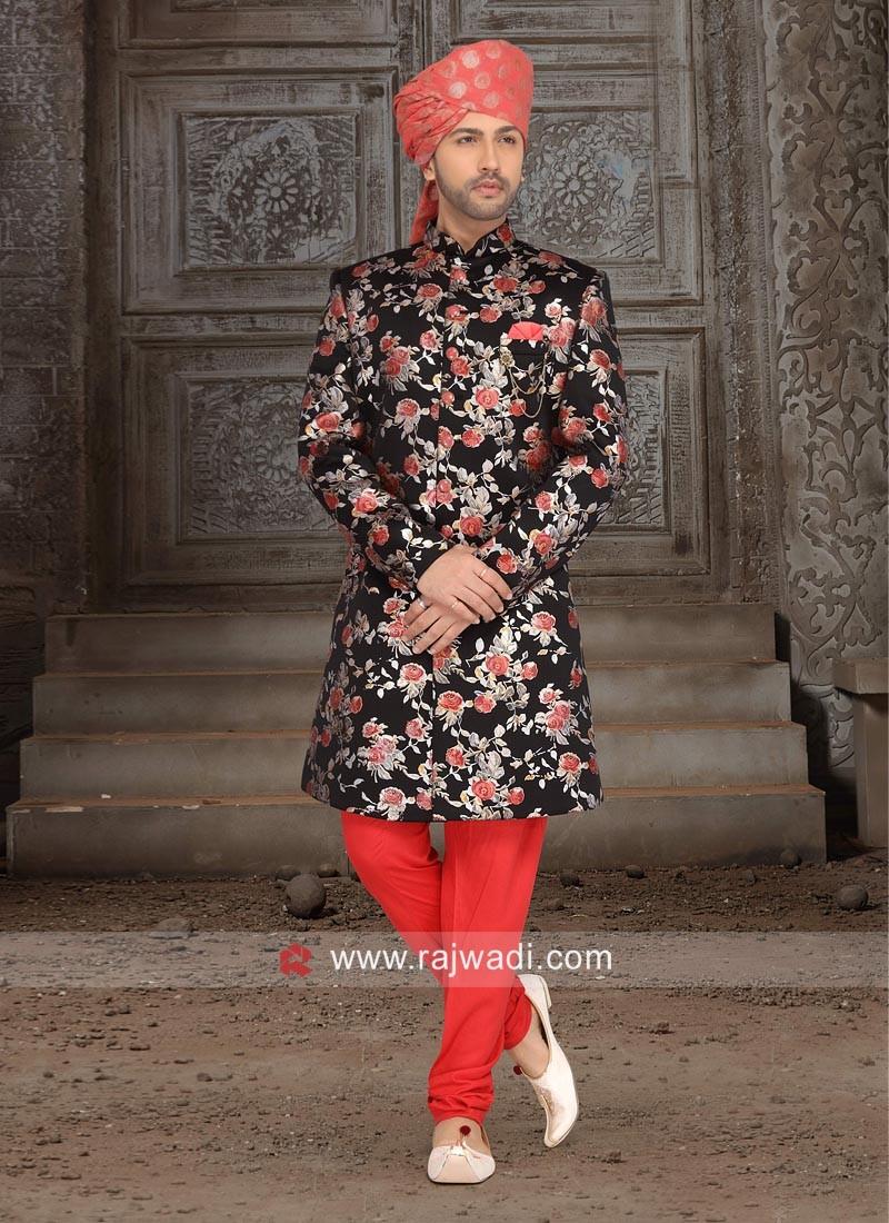 Black Brocade silk Indo Western