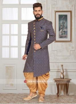 Brocade Silk Sherwani with Stand Collar
