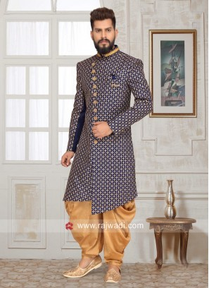 Brocade Silk Sherwani with Stand Collar