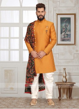 Attractive Golden yellow Sherwani