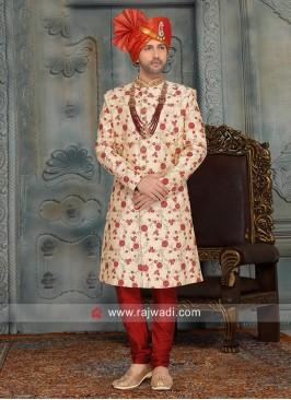 Designer Cream Art Silk Sherwani