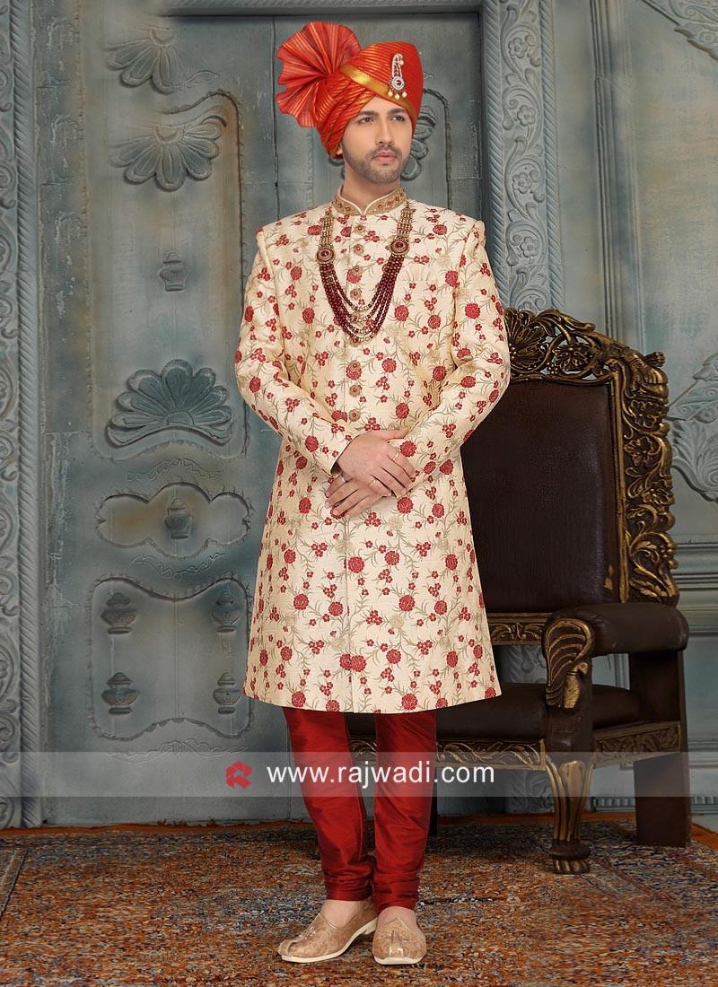 Designer Cream Art Silk Sherwani