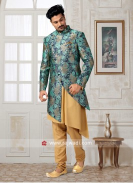 Brocade Silk Indo Western in Light Teal