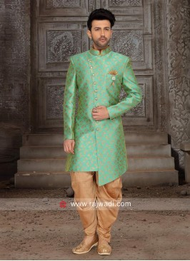 Brocade Silk Indo Western in Green