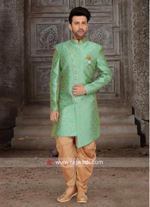 Brocade Silk Indo Western in Green