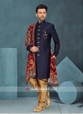 Navy Art Silk Indo Western