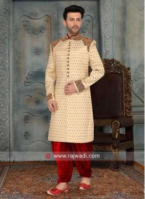 Golden Cream Cutdana Work Sherwani
