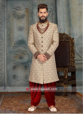 Golden Color Brocade Silk Sherwani