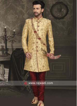 Zari Work Silk Sherwani with Stand Collar