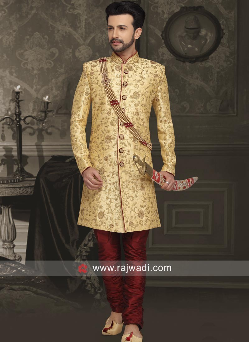 Zari Work Silk Sherwani with Stand Collar