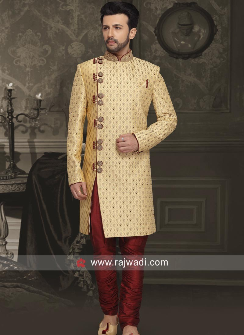 Golden Color Sherwani With Side Buttons