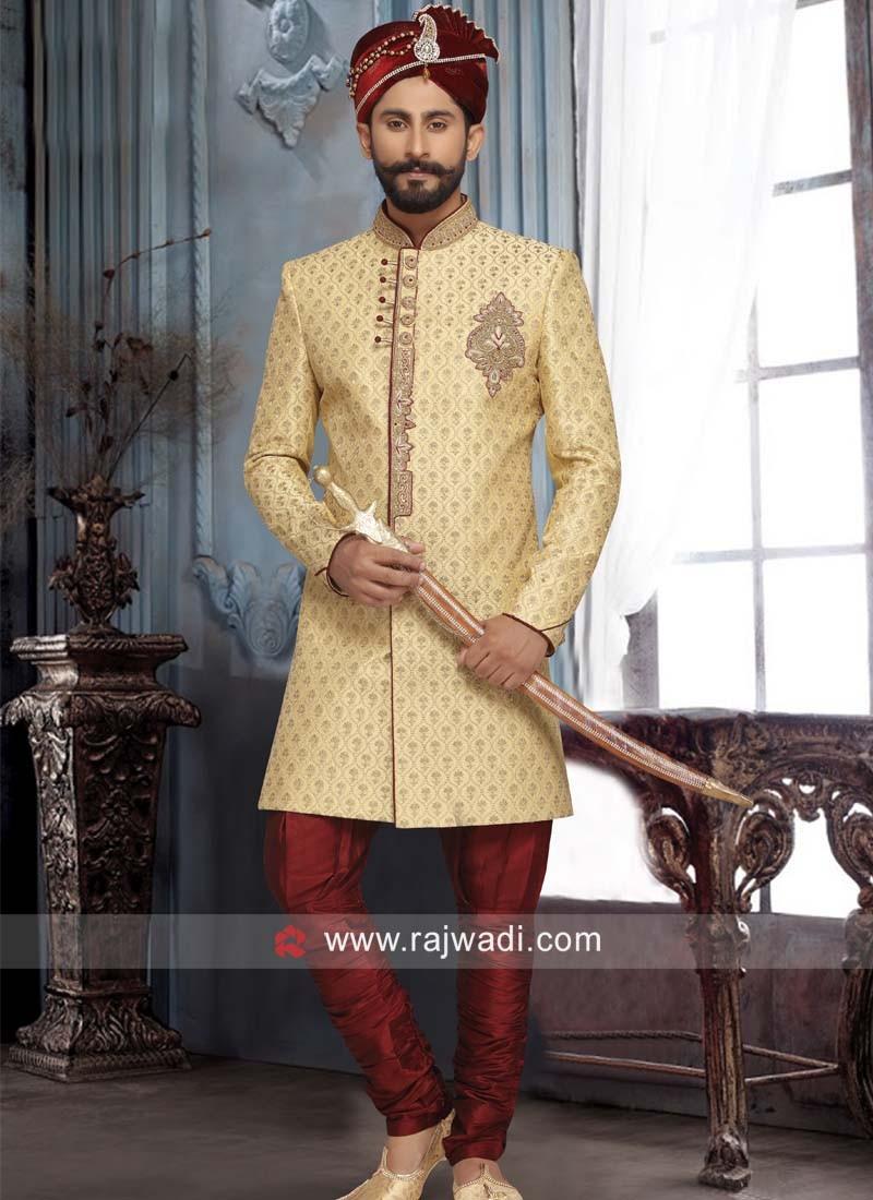Brocade Silk Sherwani with Buttons
