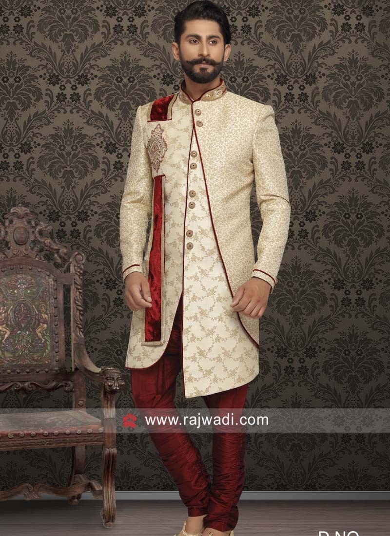 Golden Sherwani with Zardozi Patch Work