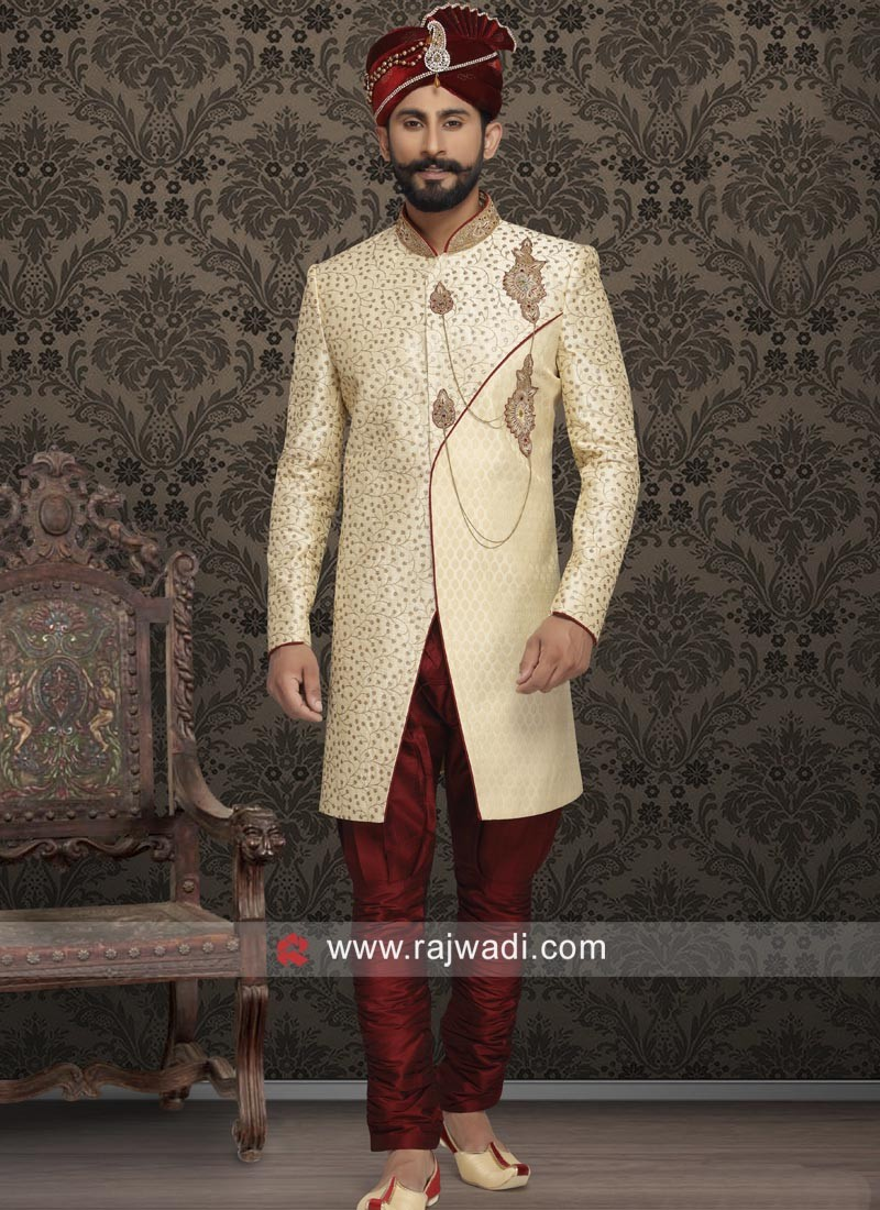 Wedding Wear Cream Sherwani