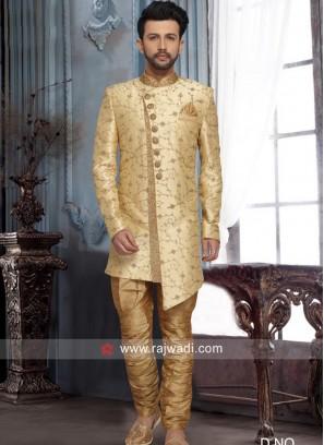 Designer Golden Cream Indo Western
