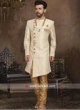 Stylish Silk Cream Color Indo Western