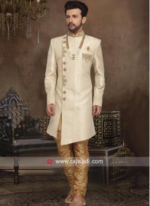 Stylish Silk Cream Color Indo Western