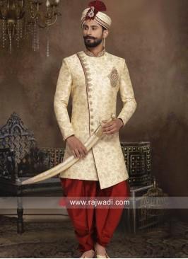 Brocade Silk Sherwani with Zardozi Work