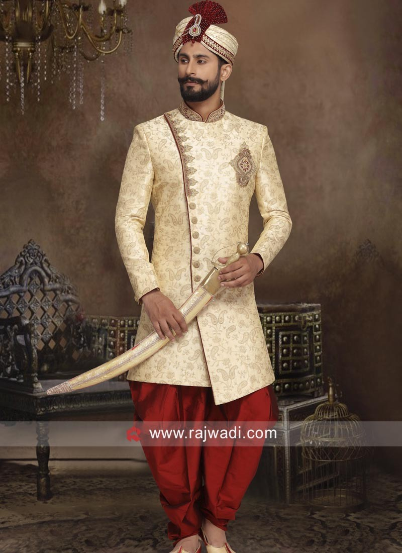 Brocade Silk Sherwani with Zardozi Work