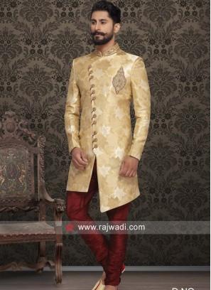 Golden Color Indo Western For Wedding
