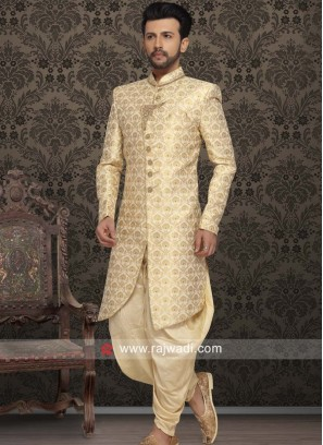 Golden Cream Indo Western with Stand Collar