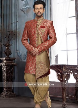 Red and Golden Sherwani