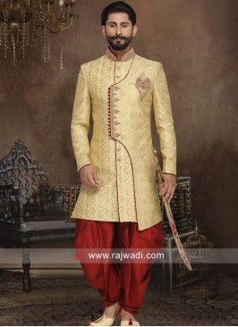 Golden Brocade Silk Sherwani