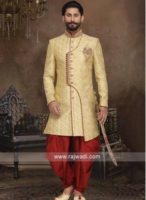Golden Brocade Silk Sherwani