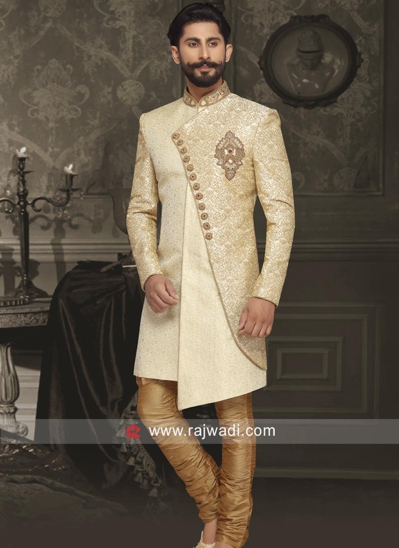 Golden Cream Brocade Silk Indo Western