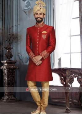 Red Art Silk Sherwani For Wedding