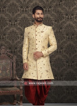 Art Silk Indo Western in Cream