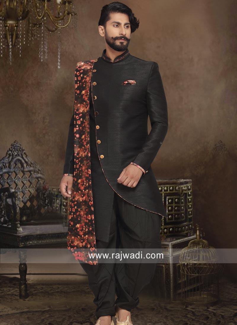 Black Cotton Silk Patiala Indo Western