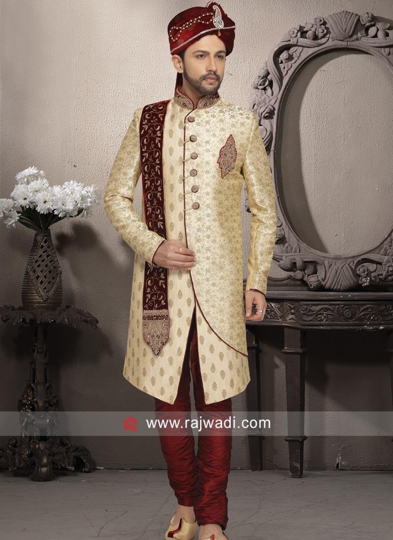 Wedding Wear Golden Sherwani