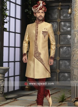 Groom Golden Sherwani With stylish Buttons