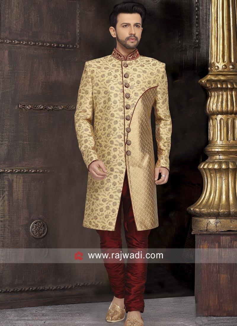 Attractive Golden Color Sherwani For Wedding