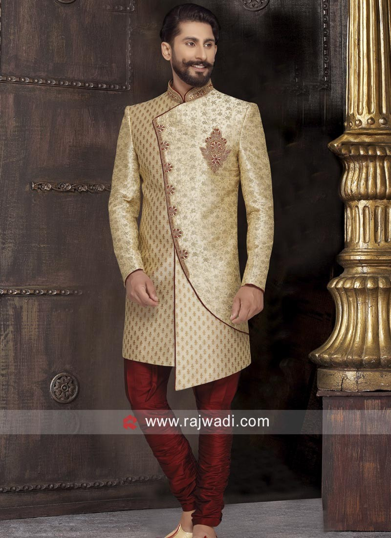 Stylish Golden Sherwani with Full Sleeves