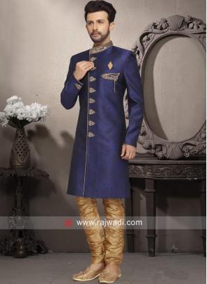 Navy Brocade Silk Indo Western