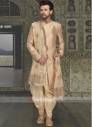 Golden Cream Sherwani
