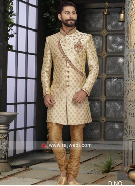 Brocade Silk Fabric Golden Sherwani For Wedding