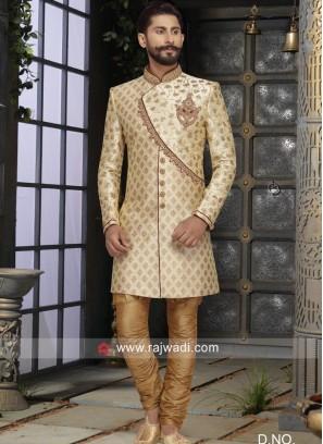 Brocade Silk Fabric Golden Sherwani For Wedding