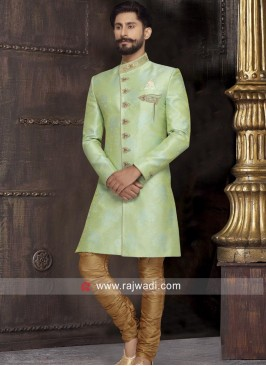 Charming Pista Green Color Indo Western