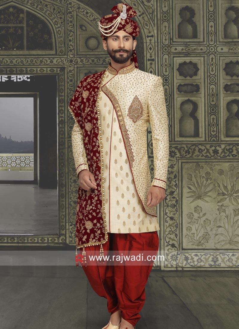 Brocade Silk Fabric Sherwani With Stylish Patch