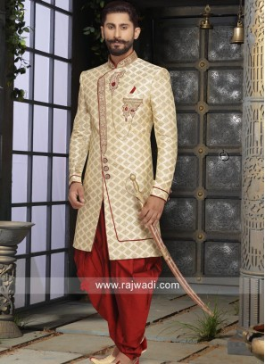 Golden Color Sherwani in Brocade Silk Fabric